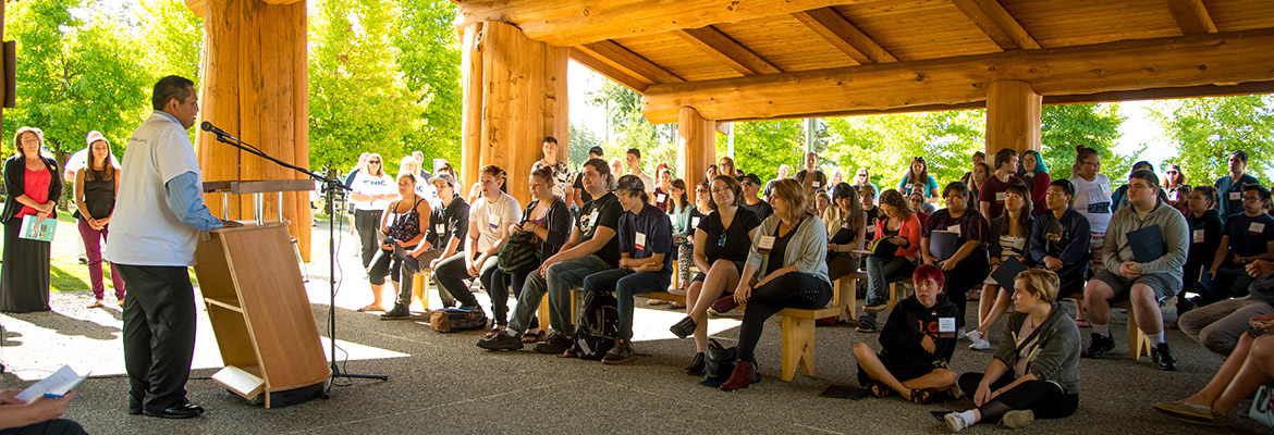 Students gather at the Gathering Place at NIC's Port Alberni campus as part of orientation day