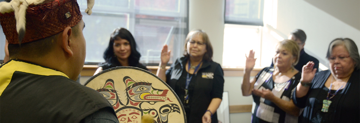 Students and staff celebrate the opening of the Aboriginal Student Lounge in the Comox Valley