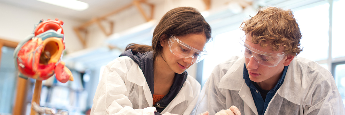 Veronica Plihal and Anthony Dean Boucher work in a lab
