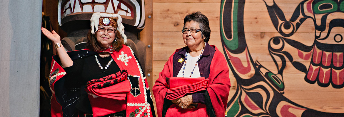 NIC Elders in Residence Fernanda Paré and Evelyn Voyageur at an event in Campbell River.