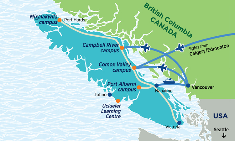 Map of Vancouver Island, BC showing location of NIC's campuses at Port Hardy, Campbell River, Comox Valley, Port Alberni and Ucluelet.